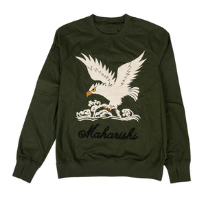 Organic Cotton Eagle Woven Track Top - Olive Green