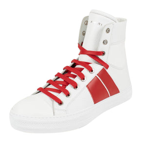 Amiri Sunset Leather High Top Sneakers - White / Red