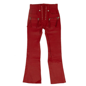 Leather Cropped Plonge Lace-Up Pants - Red