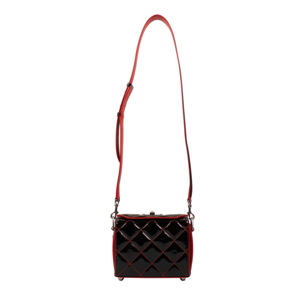 Patent Leather 'Box Bag 19' Quilted Bag - Black