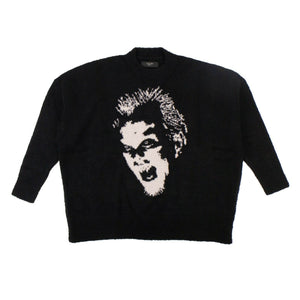 Wool 'Lost Boys Face' Oversized Sweater - Black