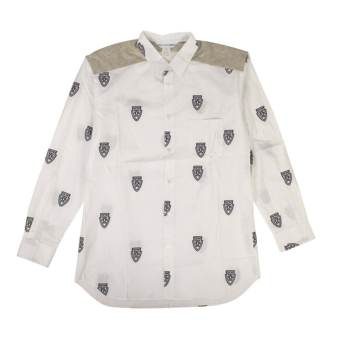 Cotton Mask Long Sleeves Poplin Shirt - White