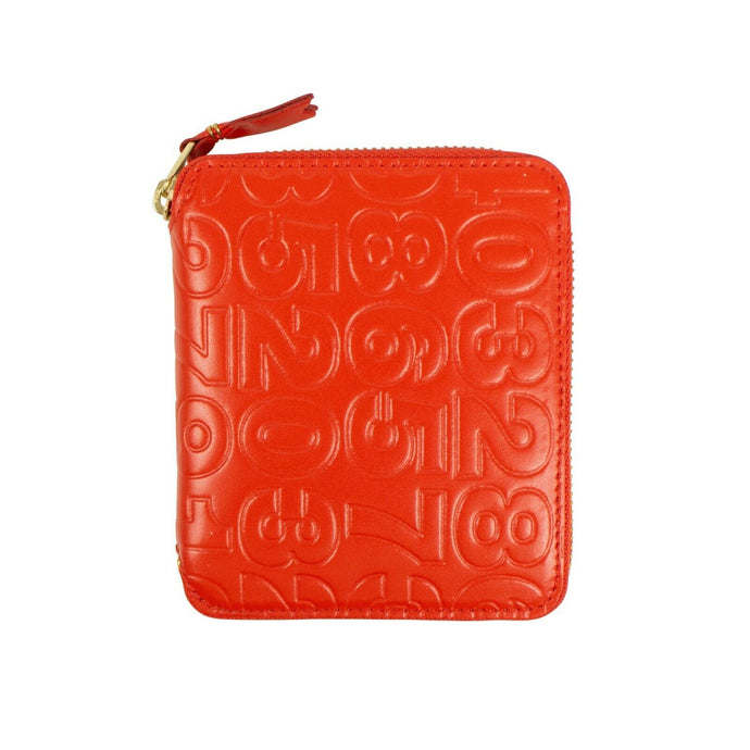 Leather Number Embossed Square Wallet - Red Orange