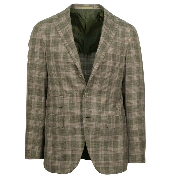 Drop 8 Plaid Wool Blend 3 Roll 2 Button Sport Coat - Beige