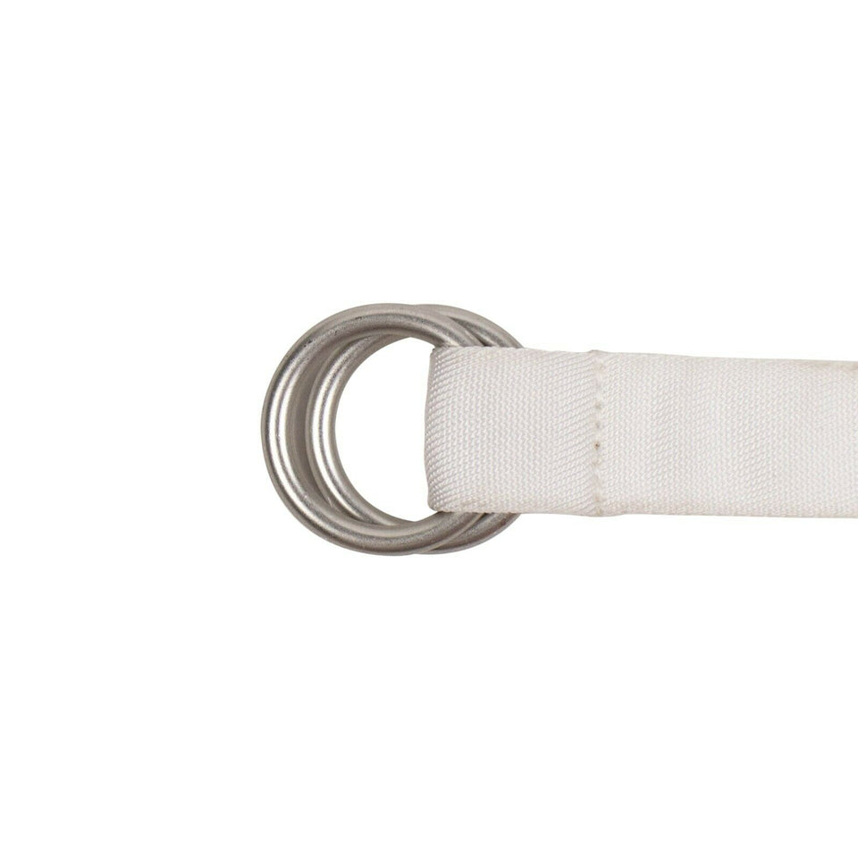 Canvas Circle Buckle Belt - White