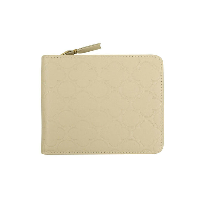 Leather Clover Cardholder Zip Around Wallet - Ivory