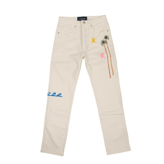 Straight Leg Splash Jeans - White