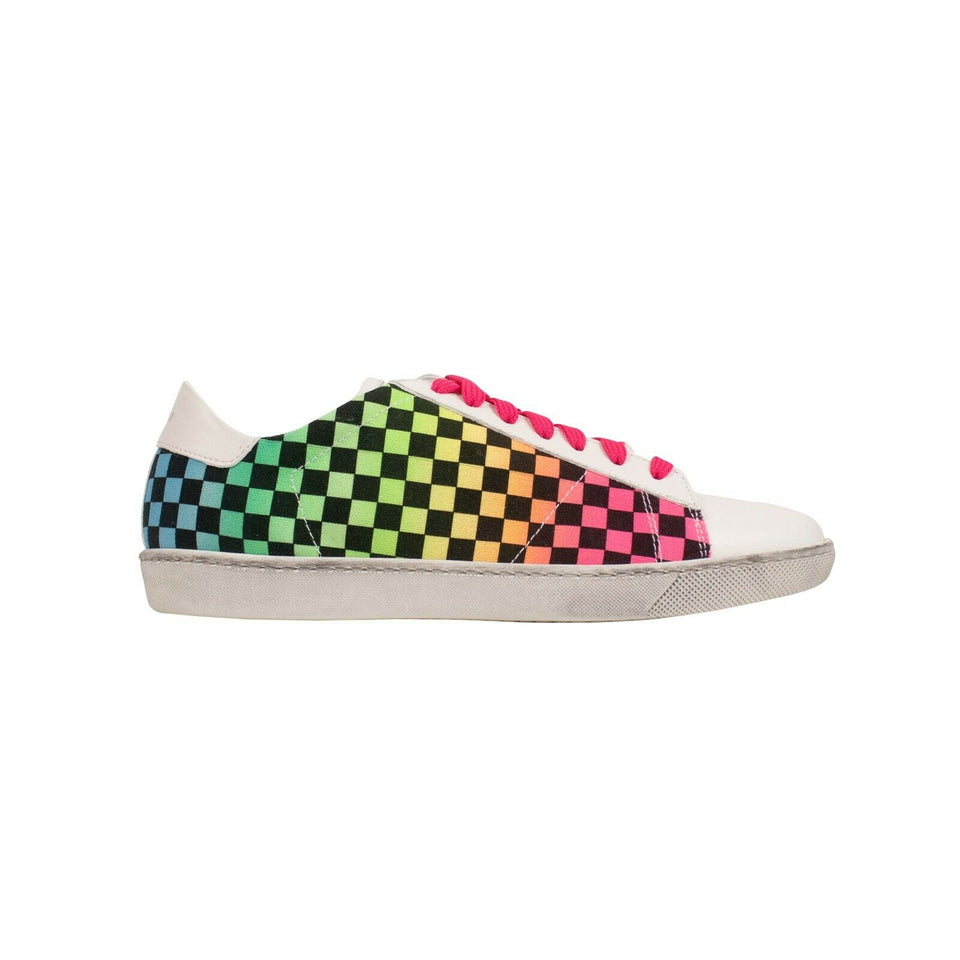 'Viper' Rainbow Check Sneakers - Multicolored