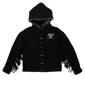 Denim Tassel Fringed Jacket - Black