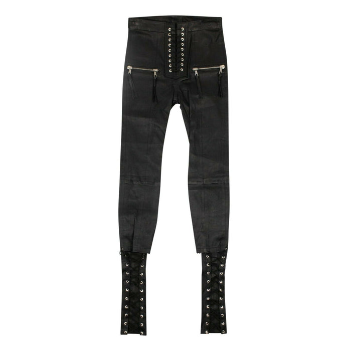 Leather Lace Up Skinny Pants - Black