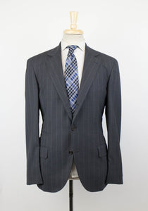 Striped Wool 3/2 Button Sport Coat - Gray