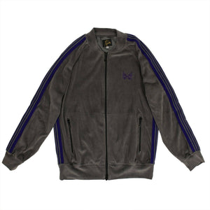 Velour Side Striped Track Jacket - Gray