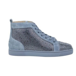 Men's Louis Orlato Strass Suede Leather Hi-Top Sneakers - Light Blue
