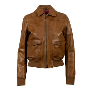 Leather With Star Design Bomber Jacket - Brown