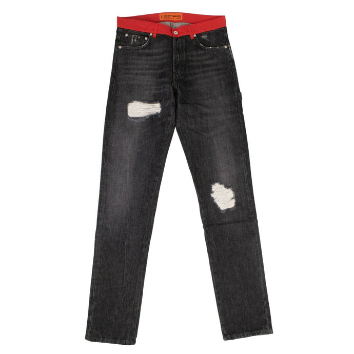 Denim Red Nylon Waistband Jeans - Black