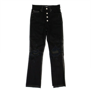 Leather/Denim Crop Flare Jeans - Black