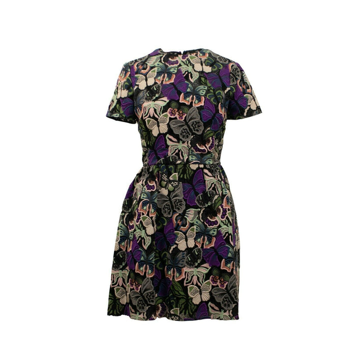 Short Sleeve Butterfly Dress - Black / Multi