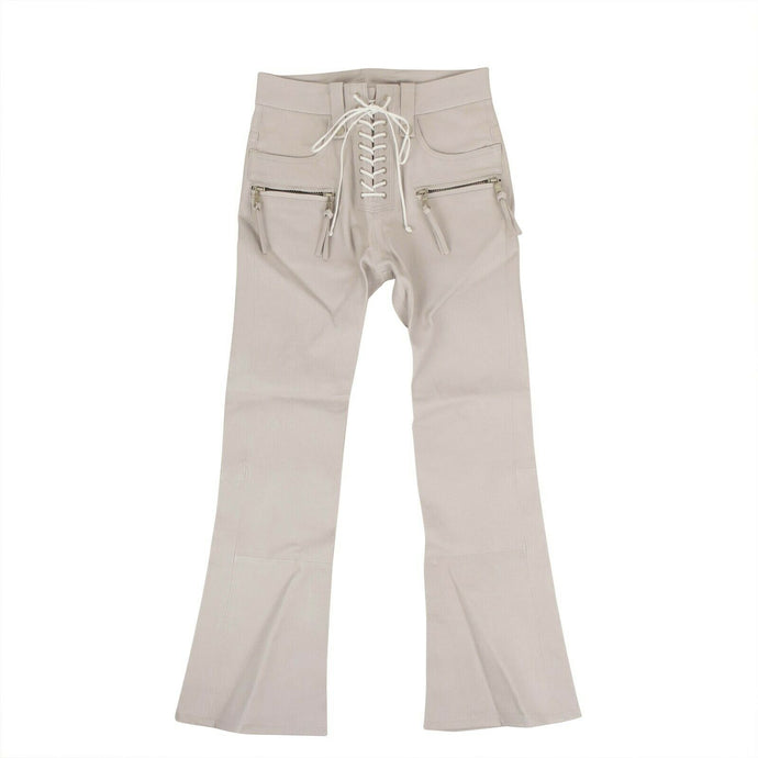 Leather Lace-Up Front Cropped Pants - Ice Gray