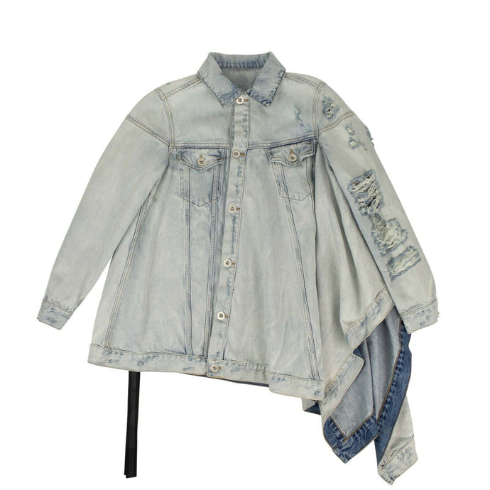 Asymmetric Distressed Denim Jacket - Blue