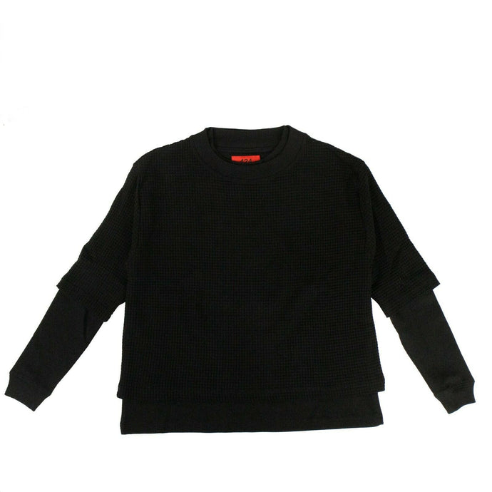 Cotton 'Waffle Knit Double Layer' T-Shirt - Black