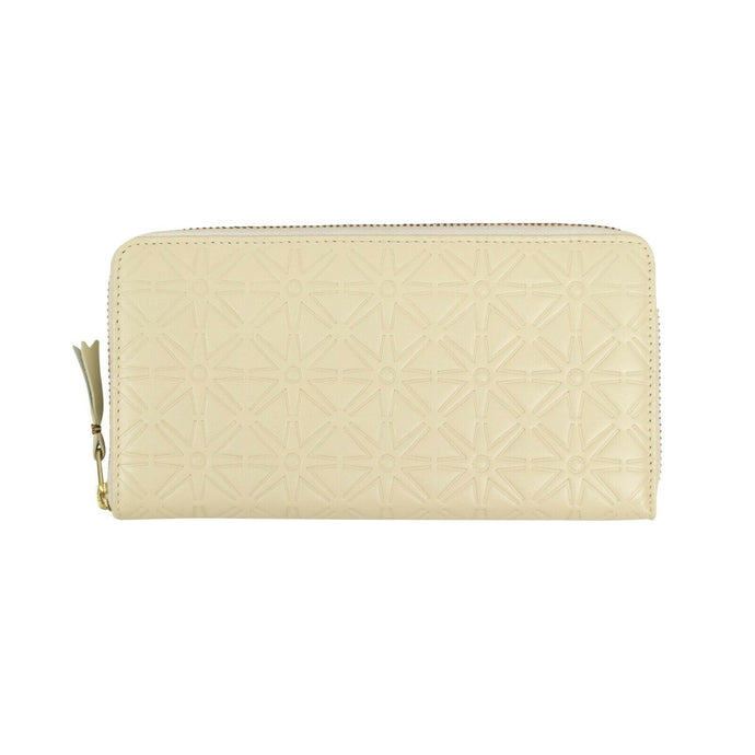 Leather Star Embossed Wallet - Cream