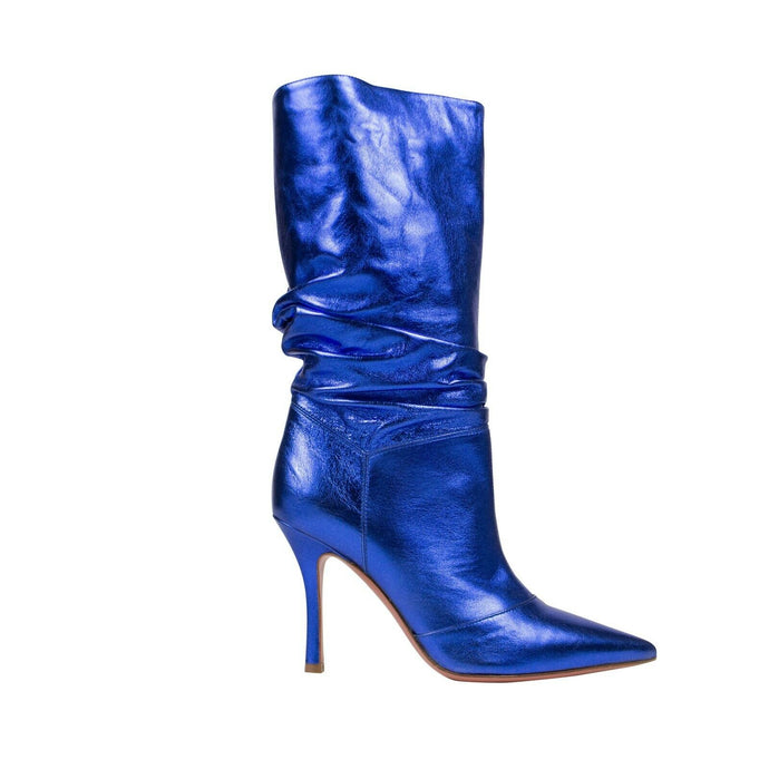 Metallic Leather 'Ida' Heels Boots - Blue