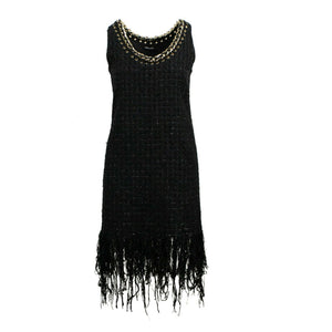 Cotton Fringe-Trimmed Tweed Mini Dress - Black