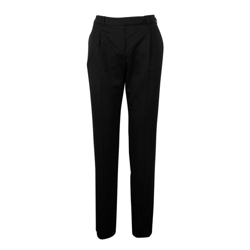 Wool Blend Pleated Pants - Black