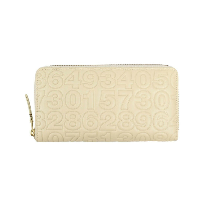 Leather Number Embossed Wallet - Ivory