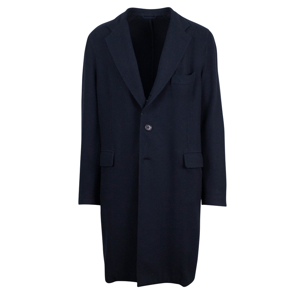 Blue Twill Cashmere Full Length Slim Fit Coat