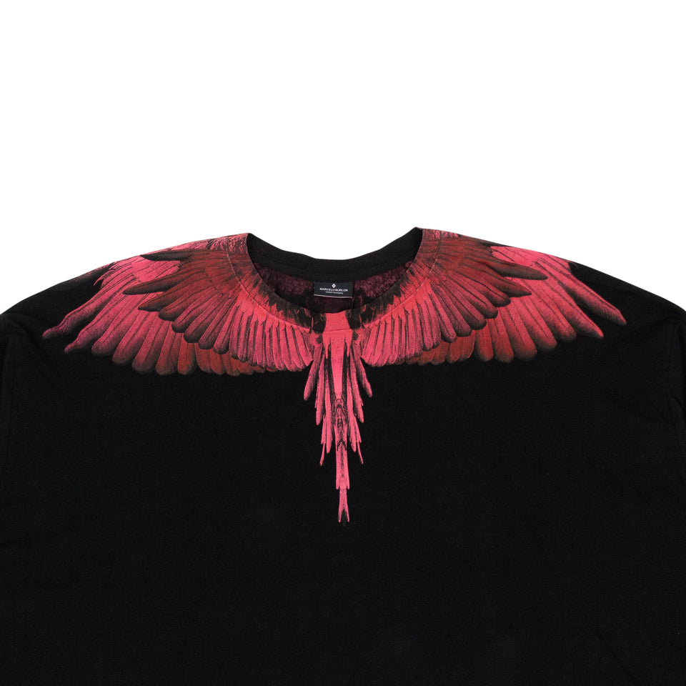 Cotton Pink Wings Oversize T-Shirt - Black