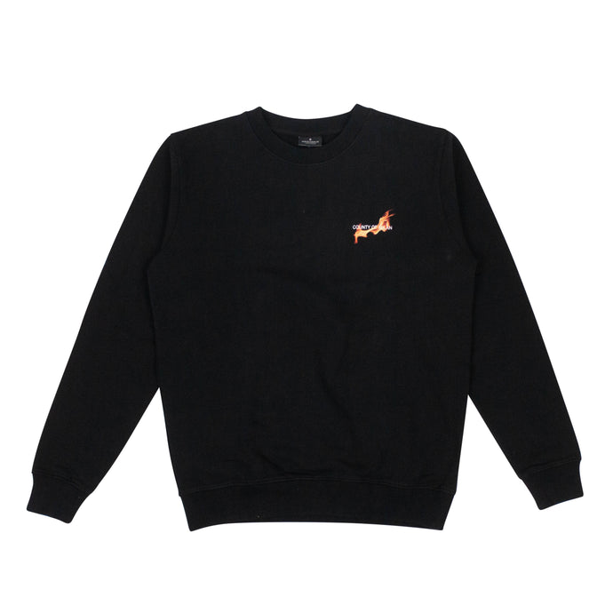 Cotton 'Fireball' Pullover Sweatshirt - Black