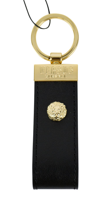 Leather Lion Head Key Ring - Black