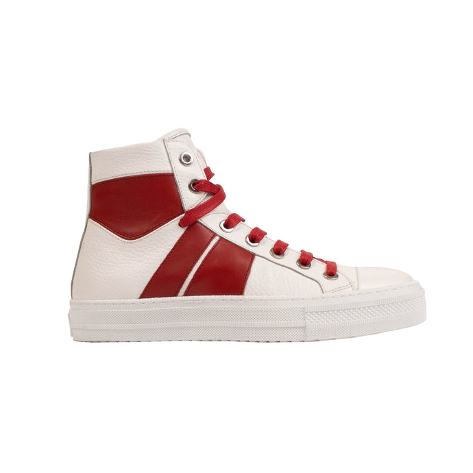 Leather 'Sunset' Sneakers - White/Red