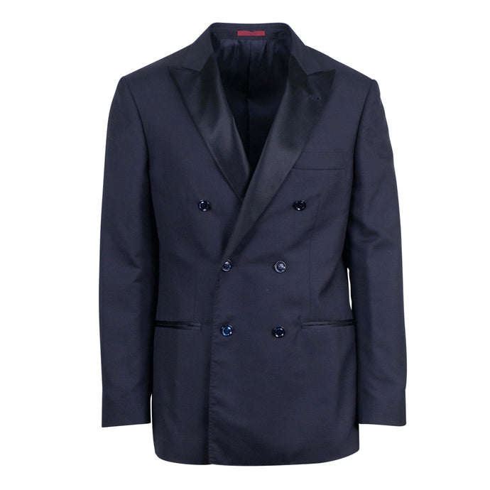 Cashmere Blend Double Breasted Tuxedo Sport Coat - Blue