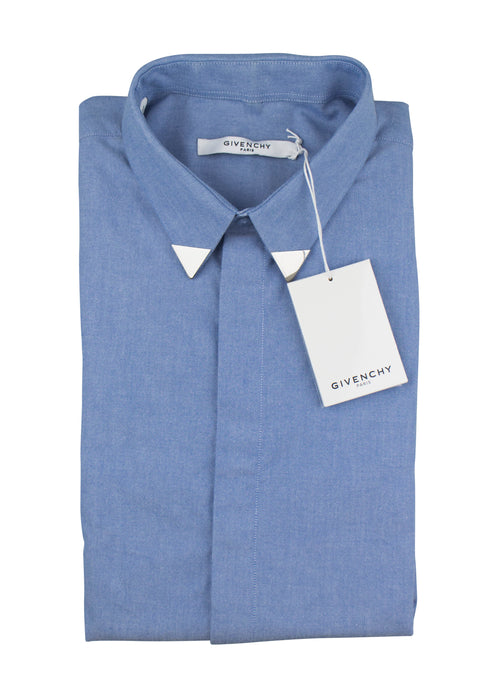 Cotton Button Down Metal Collar Shirt - Blue