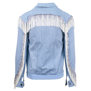 Fringe Denim Biker Jacket - Cove Blue