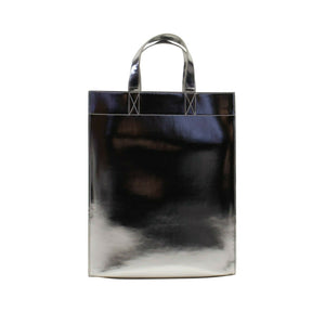 Metallic Leather Tote Bag - Silver