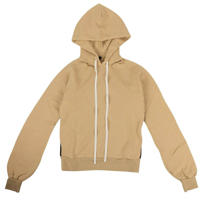 Cut Out Shoulder Hooded Sweatshirt - Tan