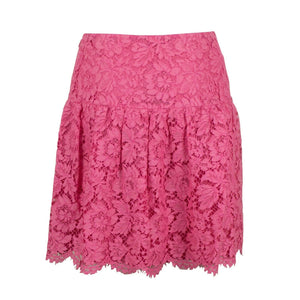 Lace Floral Embroidered Skirt - Pink