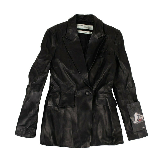Leather Blazer Jacket - Black