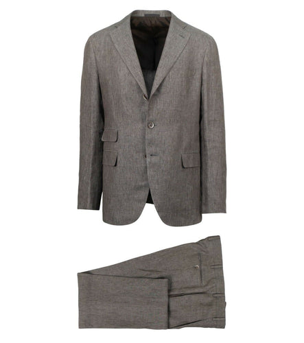 Drop 8 Linen 3 Roll 2 Button Slim Fit Suit - Brown