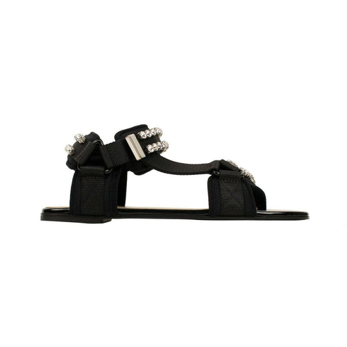 Leather With Crystals Velcro Open Toe Sandals - Black