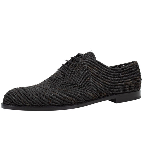Patterned Raffia Lace Up Oxfords - Black