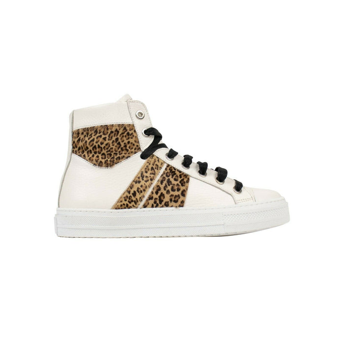 Leather Leopard Fur 'Sunset' Sneakers - White