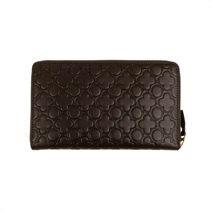 Leather Clover Embossed Travel Organizer Wallet - Brown