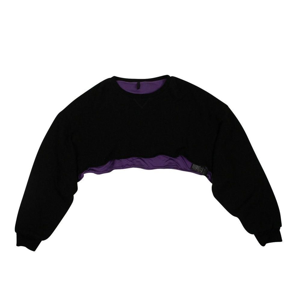 Cotton Over-Sized Crop Sweater - Black