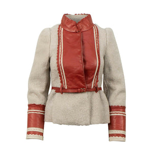 Lamb Fur With Lambskin Leather Detail Coat - Off White / Red