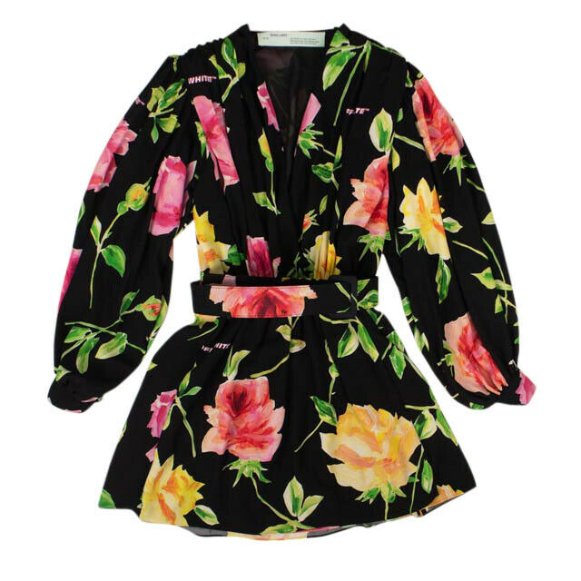 Floral Wrap Long Sleeve Belt Dress - Black