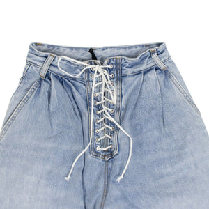Denim Cotton Lace Up Wide Leg Jeans - Blue